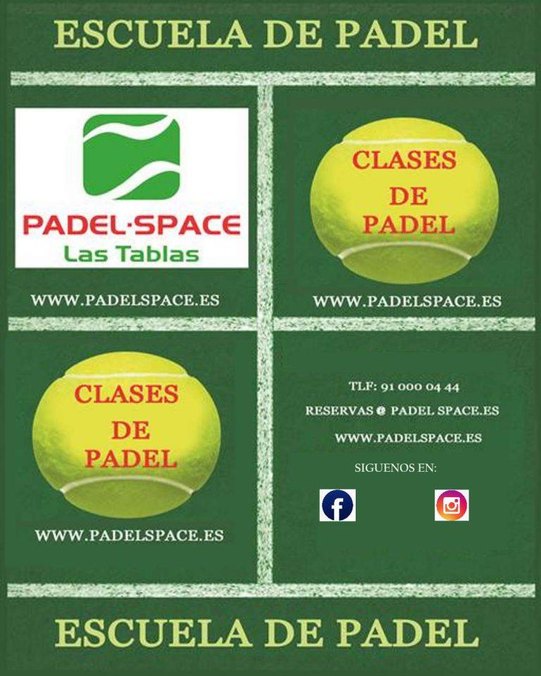 Flyer de publicidad para publicitar las clases de Padel.